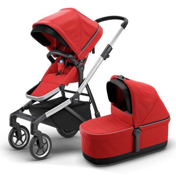 carrinho para bebe thule sleek com bassinet energy red 01