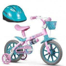 bicicleta infantil aro 12 nathor feminina com capacete 01