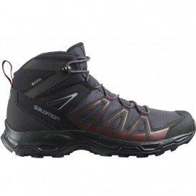 bota masculina salomon robson mid gtx preto e vermelho